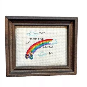 Vtg framed rainbow cross stitch religious art
